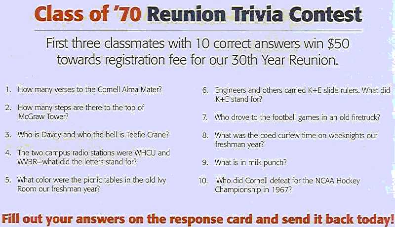 the Class of '70 Reunion 2000 Trivia Questions